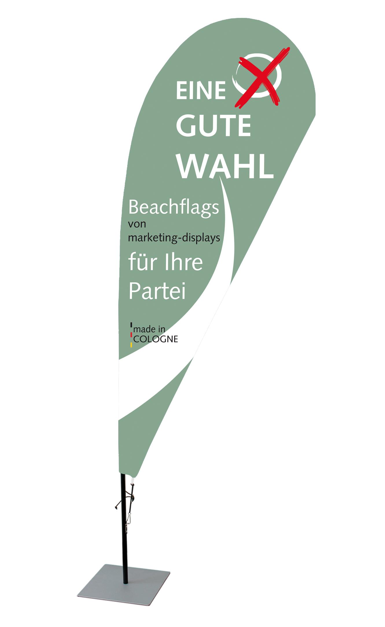 Beachflag für Wahlkampf und Wahlstand