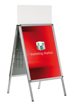 A-Board Classic with brochure cage and top sign